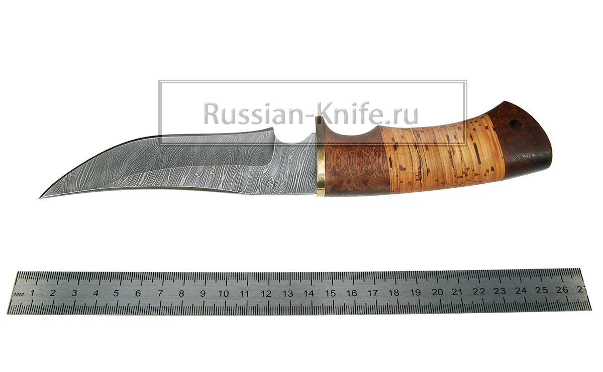 Нож комар дамасская сталь береста