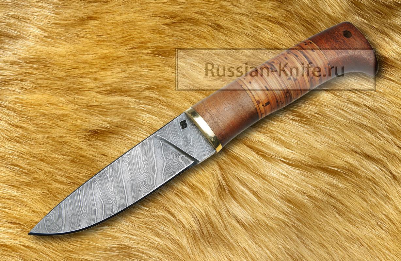 Нож ласка дамасская сталь береста