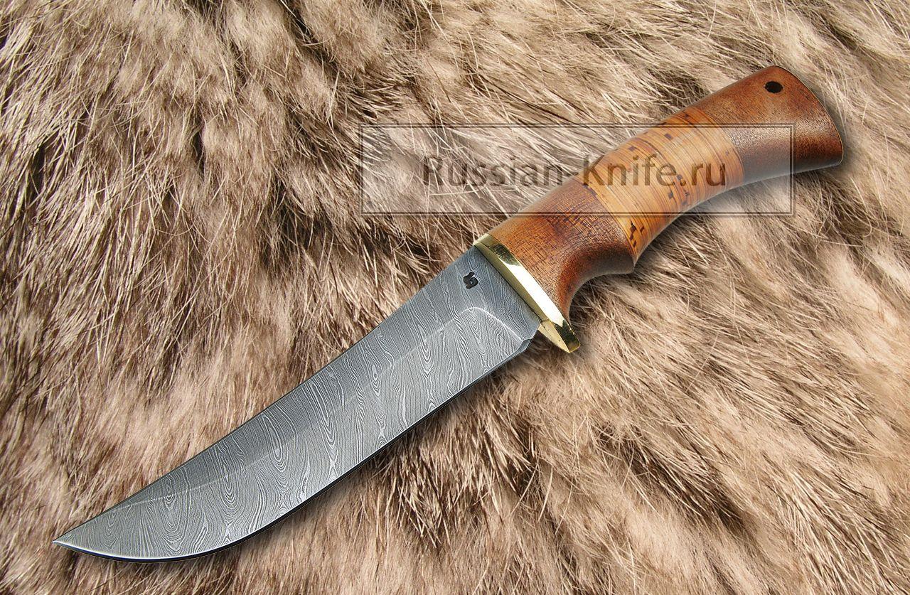 Нож бивень дамасская сталь береста