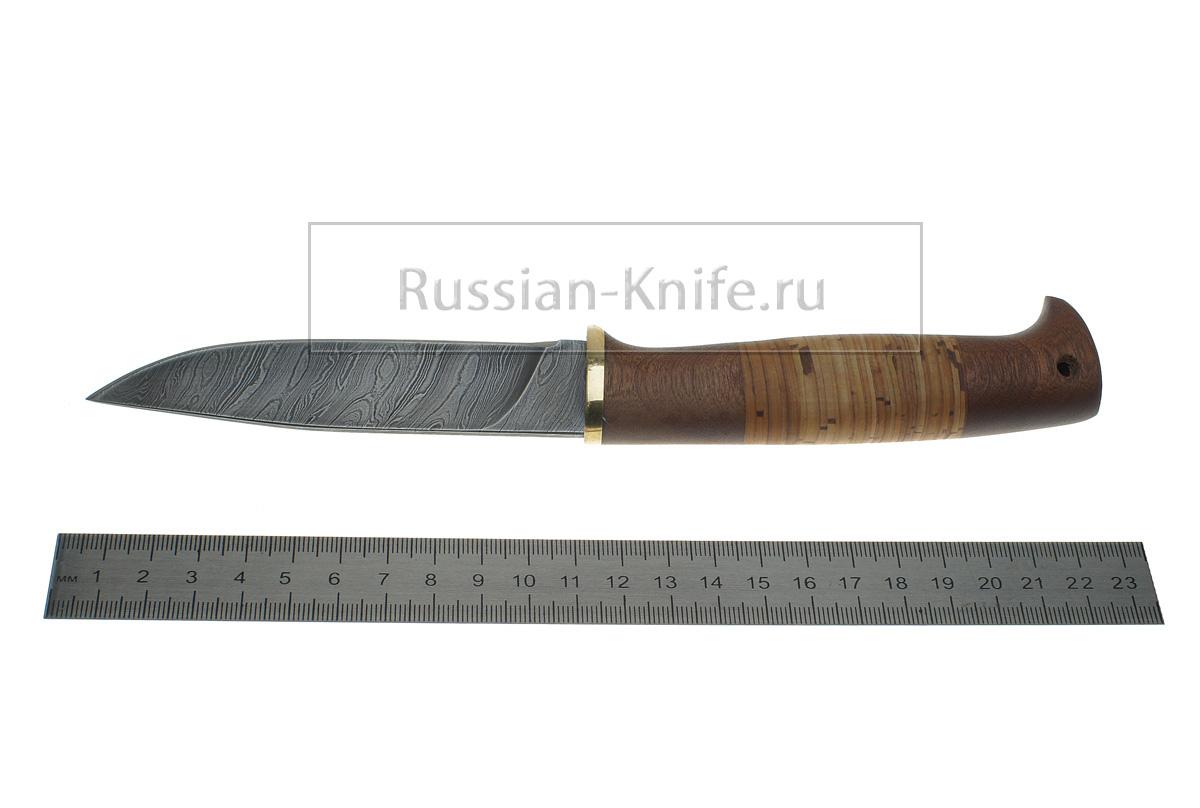 Нож линь дамасская сталь береста