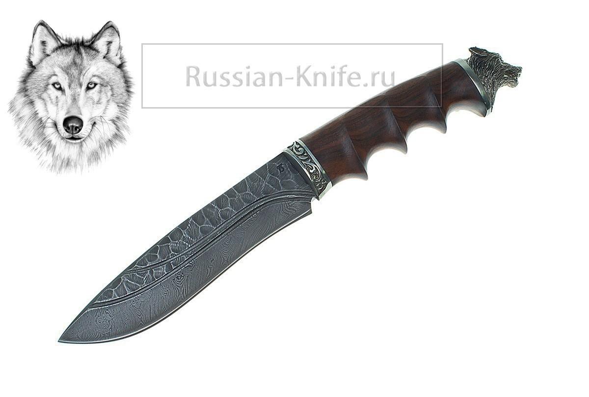 Нож волк 2 дамасская сталь ручная